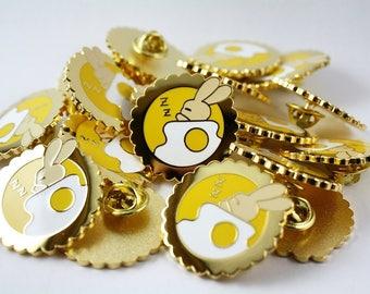 Sleeping Egg Tart Bunny Enamel Pin