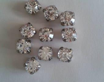 20 round glass rhinestones set-Crystal 6mm