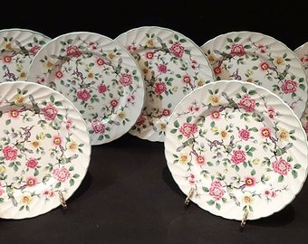 """Staffordshire, """"Old Foley"""" (""""China Rose"""") - Set of 8 Bread & Butter Plates, ca 1930s"""