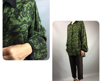 Oversized 1990's Vintage Embroidered Blouse Large Plus Size Sz 10-12 Us Green Black Print Ladies Shirt Long Sleeve Buttons Down 90's Top VTG