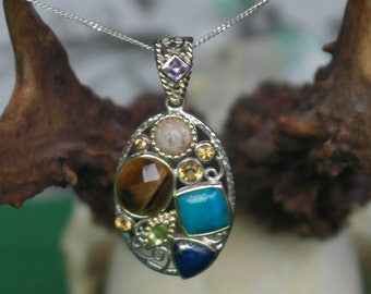 Vintage Multi-gem Sterling Silver 925 necklace gift