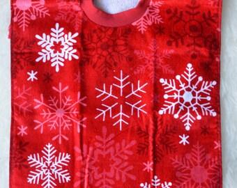 Red Snowflake Towel Bib