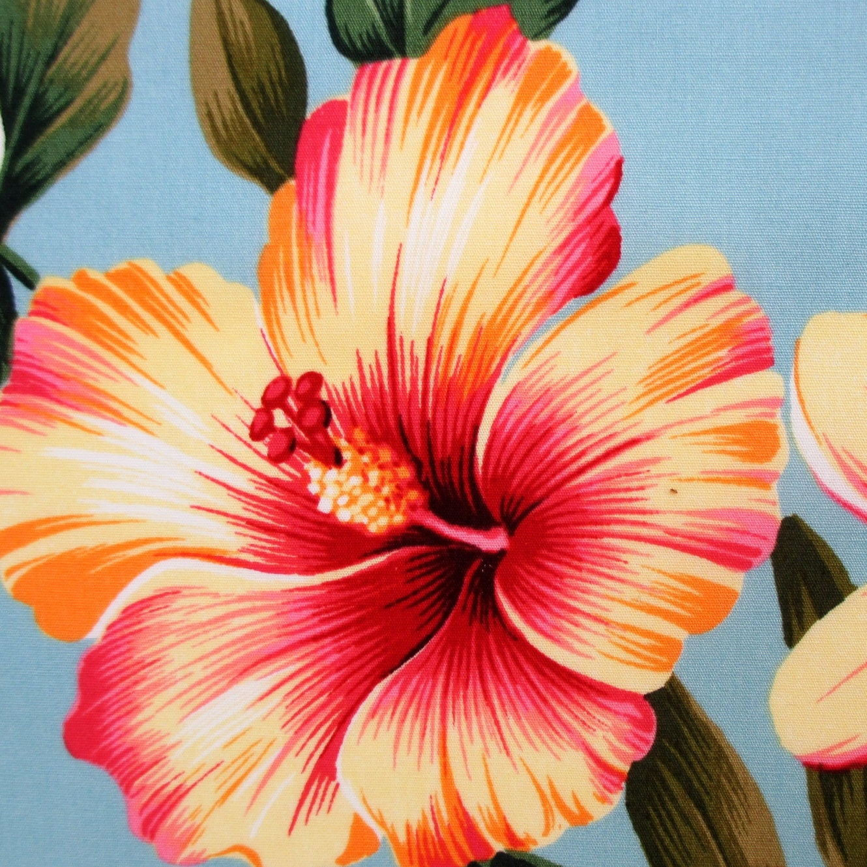 Fabric hawaiian flower luau pale teal tropical floral hibiscus 350 shipping izmirmasajfo
