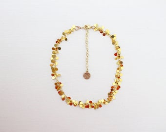 Chain Choker - Gold Confetti // Gold Dangle