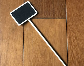 Set of 10 Herb Garden Marker Stake Flower Bed Signs Organic Gardening Stakes Wooden Chalkboard Herb Markers