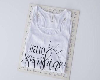 Hello Sunshine, Womens Graphic Tee, Sunshine T Shirt, Cute T Shirt, Cute Tank Top