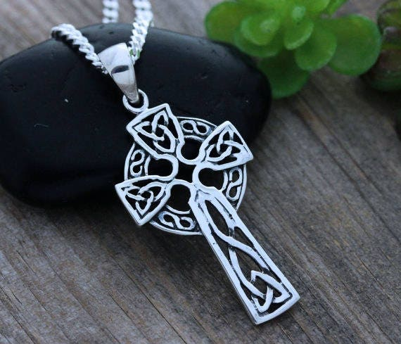 Mens celtic cross necklace sterling silver celtic cross like this item mozeypictures Choice Image