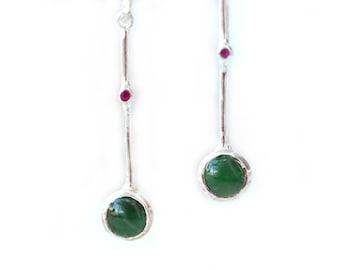 Green Jade Long Earrings, 925 Silver Drop Earrings, Natural Jade and Ruby Minimalist Earrings, Earrings Gift for Her, Green Jade Jewelry