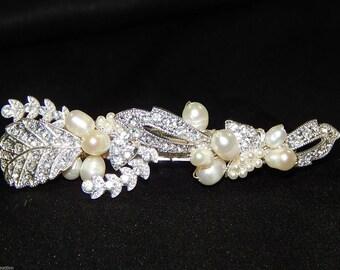 Stunning Brilliant Bridal Freshwater Pearl, Rhinestone Wedding Hair Clip /3102