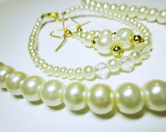 JEWELRY SET Pearl And Crystal Jewelry Set Ivory Bridal Accessories Pearl And Crystal Jewelry Set Necklace Earrings And Bracelet Ivory Pearls
