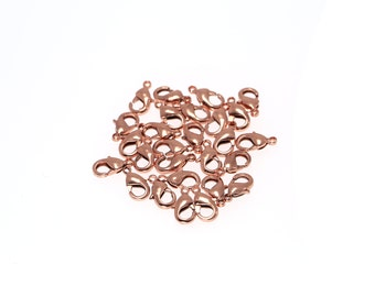 20 pcs 10mm Small Rose Gold Tone Brass Lobster Clasps