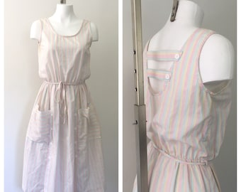 80s Dress, Sundress, Sleeveless Dress Cut Out Back, Pastel Summer Dress, Cotton Dress with Pockets, Striped Dress, Midi Dress, Sun Dress