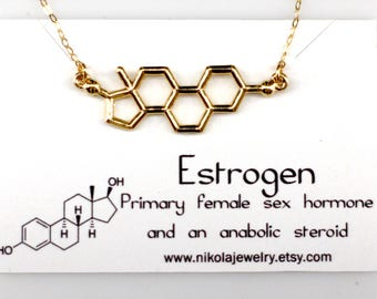 Silver or Gold Estrogen Molecule Necklace, Science Jewelry, Female Hormone, Molecule Jewelry, Biology Gifts, Geek Gifts