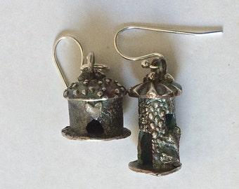 OOAK castle earrings, heart earrings, Tour de France, birdhouse earrings, fairy houses, hobbit house, harry potter, birthday gift
