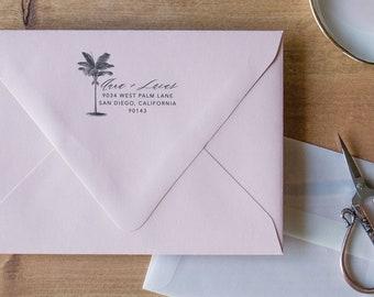 Return Address Stamp Palm Tree Stamp, Address Stamp Self Inking Custom Stamp, Return Address Stamp Self-Inking Address Stamp