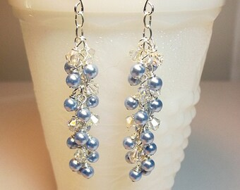 Blue Earrings, Long Pearl Earrings, Crystal Earrings, Cluster Earrings, Dainty Earrings, Bridesmaid Gifts for Her, Friend Gift, Icicle