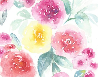 Valentines Day Painting, Watercolor Valentine, Watercolor Flower Painting, Watercolor Floral Painting, Botanical Art, Original artwork