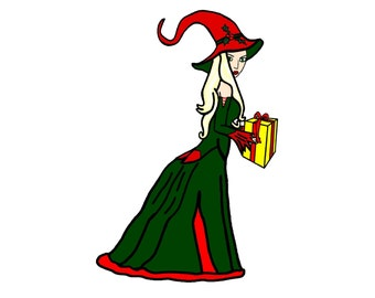 Yule Witch Clip Art