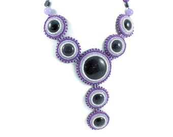 Bead embroidery - statement necklace -  bead necklace - bead embroidery necklace - bohemian jewelry - embroidery necklace - колье из бисера