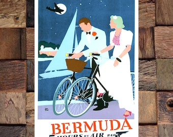 Bermuda 5 Hours By Air Travel Ad, Tourism Art, Vintage Travel Art, Vintage Travel Ad, Vintage Art, Giclee Art Print, fine Art Reproduction