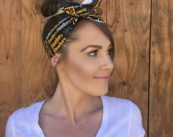 Pittsburgh Steelers Dolly Bow || Pinup Rockabilly Dolly Bow Tie Headband Yellow Black Red Football Headscarf Hair Band Head Wrap Team