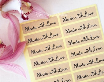 60 x Made with Love Kraft Brown Stickers Labels Seals for Handmade