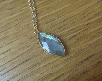 Necklace drop Labradorite Gold Plated over Brass 2.5-3 mm
