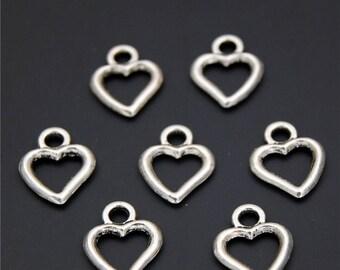 30pcs Antique Silver Heart Charms Pendant A2333