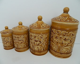 Set of 4 Harvest Yellow Ceramic Canisters Made in Japan