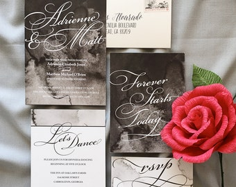 Black and White Abstract Watercolor Wedding Invitations