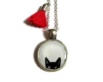 Cat Necklace -Kids Cat Necklace - Tassel Necklace - Gifts for Cat Lovers - Cat Jewelry. Girls Cat Necklace. Gifts for Kids. Little Girl Gift