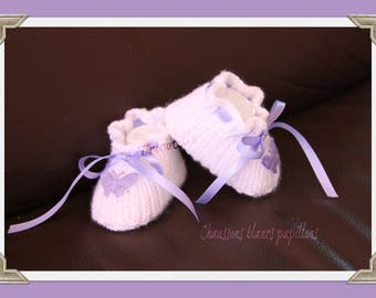 White slippers butterflies and purple satin ribbon