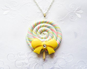 Jumbo Sized Pastel Rainbow Lollipop Necklace, Kawaii Necklace, Lolita Necklace, Polymer Clay, Candy Necklace, Kawaii, Lolita, Fairy Kei