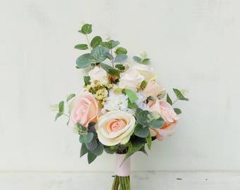 Ivory blush peach wedding flowers package bridal bouquet bridesmaid posies set artificial silk flowers rose eucalyptus rustic boho wedding