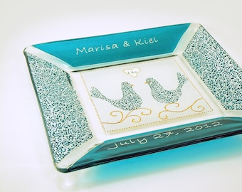 Hand painted custom personalized wedding plate - Beach theme, turquoise - Sea glass collection