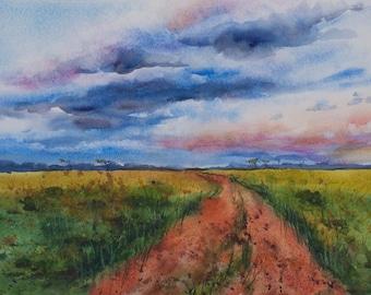 Masai Mara, Watercolor Print, Kenya, Africa, Clouds, Green fields