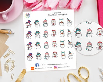 Snowman Planner Stickers - perfect for Erin Condren Life Planner, Kikki K, Happy Planner, TN, Filofax, Christmas, Snowmen, Xmas