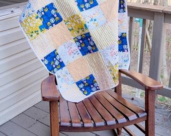 Modern Baby boy Crib Quilt- Blue quilt, gold quilt, ready to ship crib quilt, baby boy quilt, baby shower gift, Baby quilt,