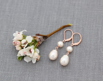 Drop Earrings, Rose Gold Pearl Dangles, Bridesmaid, Bridal Jewelry, Dainty Rose Gold Drops