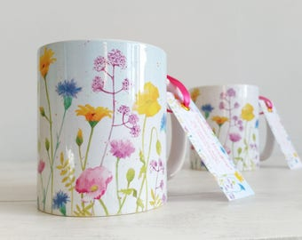 Mug featuring my hand painted 'Summer Meadow' watercolour design - 2 shades available