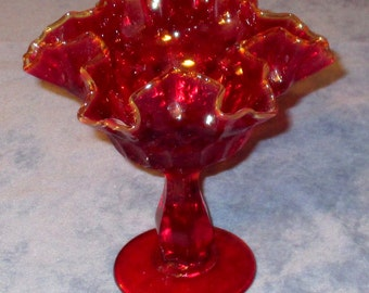 "Fenton deep ruby footed 6"" Compote"