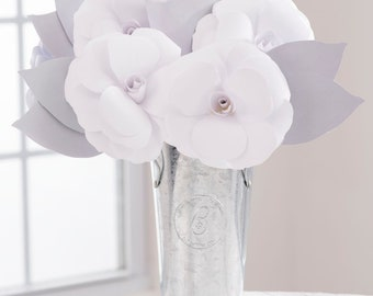 SILVER ANNIVERSARY Paper Flowers, Handmade Paper Roses Arrangement, 25th Anniversary Gift, Send Blooms that Last