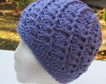 Crocheted Womans Hat - Spiral Pattern - Lavender Blue - Beanie, Cloche