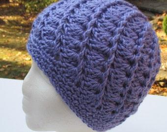 Crocheted Womans Hat - Spiral Pattern - Lavender Blue - Beanie, Cloche