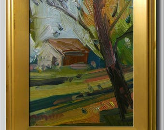 Plein Air Landscape Painting, Impressionist Oil Painting, Tree, House Painting, Cabin Woods Painting, Abstract Painting