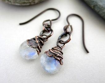 """Moonstone Drops Earrings, Electroformed Copper, Niobium Earwires, 1 1/4"""" Drop, Faceted Gemstone Earrings"""