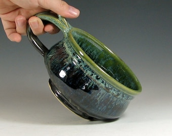 Made to order Soup mug 4-6 week ceramic, handled bowl for chili, glazed in metallic gray green