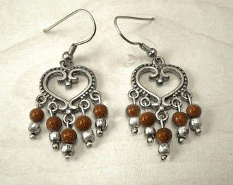 Silver dangle earrings,Boho silver earrings,bohemian jewelry,boho silver hoops,vintage earrings,hippie silver earrings,silver hoop earrings.
