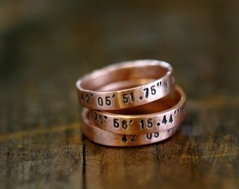 Personalized rings copper bands (E0239)