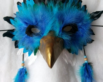SOLD Ice Griffin Mask - Fantasy Blue (AVAILABLE made to order)